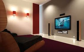 contemporary home theater design small home theater systems red color curve shape sofas simple wall