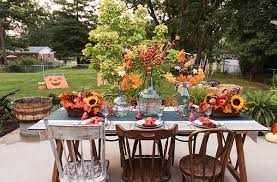 Fall Arrangements For Tables Decorations For A Harvest Festival On The Patio