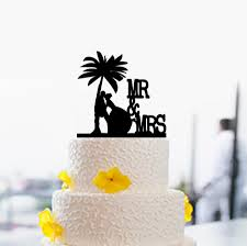 mr and mrs wedding cake topper palm tree cake topper silhouette