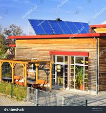 solar panels on houses solar panels on roof german kindergarten stock illustration