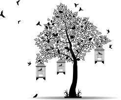 tree silhouette with birds flying and bird in a cage stock