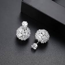 big stud earrings voguess brand new earring cz vintage black cz