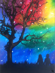 People Painting by Rainbow Colored Sky Painting With Two People Sitting Under Tree
