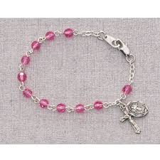 baby rosary bracelet pink baby rosary bracelet 5 5 the cross and shamrock