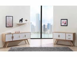 Buffet en bois ur 120cm avec 2 portes et 2 tiroirs VINTAGE Blanc