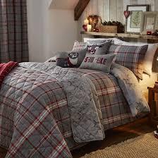 ludlow check red u0026 silver bedding range duvet sets bedding