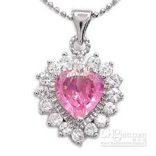 pink sapphire necklace images Wholesale engagement jewelry gift heart cut pink sapphire white jpg