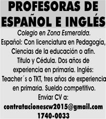 sueldos de maestras de primaria aos 2016 profesoras de español e inglés colegio en zona esmeralda español