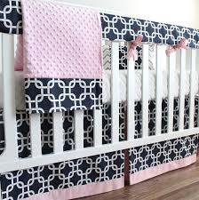 navy blue and pink bumperless crib bedding set