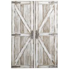 Barn Door Frame by Antique White Rustic Barn Doors Art Pier 1 Imports