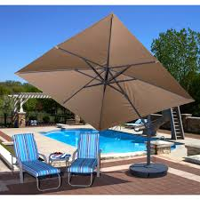 furniture cantilever patio umbrella in red with metal stand for