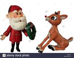 figures of the characters santa claus and rudolph the red nosed