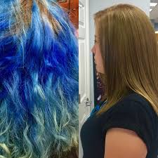 dramatic hair transformation color correction blue hair betty