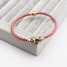 pink leather bracelet images Double skull head pink leather bracelet ice moda jpg
