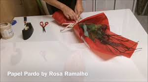 present tissue paper wrapping two roses with transparent cellophane and tissue paper