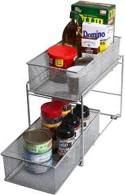 2 tier cabinet organizer ybm home 2 tier mesh roll out cabinet organizer drawer reviews