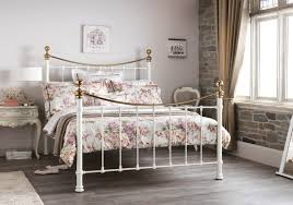 serene ethan ivory gloss with brass 6ft super king size metal bed