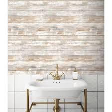 Peel And Stick Wallpaper by 28 18 Sq Ft Distressed Wood Peel And Stick Wall Decor White