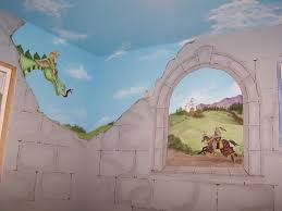 paint murals on walls home design ideas childrens murals castle big friendly green dragon looking