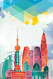 city building silhouettes background template city building