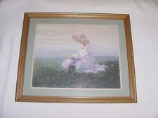 home interior pictures for sale vtg home interiors blue skirt straw hat sitting swing