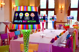 Candy Themed Centerpieces by Dylan U0027s Candy Bar Theme Bat Mitzvah Rainbow Party Mazelmoments Com