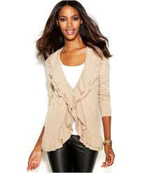 inc international concepts ruffle trim open front cardigan in