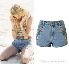 2018 2017 high waisted jean shorts for women summer blue skinny