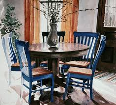 blue dining room furniture watercolors archived iowa city dining room with blue chairs 1975 12x14