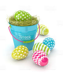 3d render of easter eggs and bucket stock vector art 641442590
