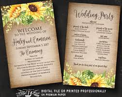 where to get wedding programs printed sunflower fan wedding program etsy