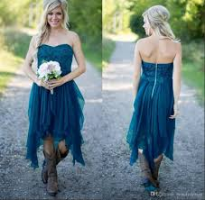 low country style teal high low country style bridesmaid dresses 2017 strapless a