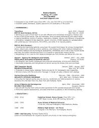 Sample Resume Objectives Military by Emt Resume Objective Resume For Your Job Application