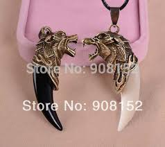 leather necklace wholesale images Wolf tooth necklace wolf head pendant artificial animal teeth jpg