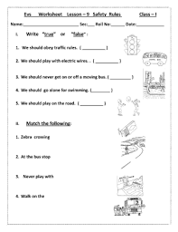 fillable online evs worksheet lesson 9 safety rules class i write