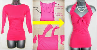 how to refashion a long sleeve t shirt into a halterneck top how