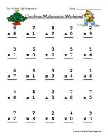 christmas single digit multiplication worksheet christmas math