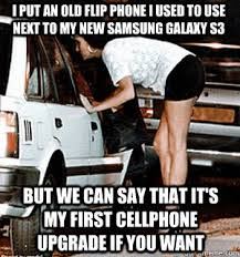 Old Cell Phone Meme - i put an old flip phone i used to use next to my new samsung