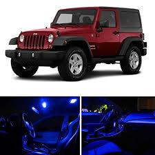 jeep wrangler unlimited interior lights ledpartsnow jeep wrangler jk 2007 2017 blue premium led interior