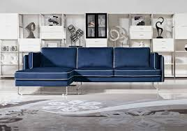 Navy Sectional Sofa Anchusa Modern Blue Fabric Sectional Sofa