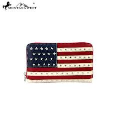 Montana Flag Us04 W003 Montana West American Pride Collection Wallet Red