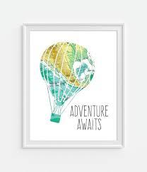 vintage map air balloon print adventure awaits