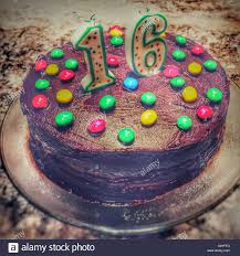 sixteenth birthday cake home made chocolate cake with colourful