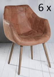 Wk Esszimmerbank 6x Armlehnenstuhl Stuhl Leder Braun Mit Holzbeinen Esszimmerstuhl