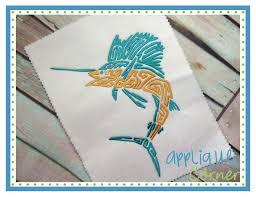 applique corner applique design blue marlin swirl embroidery design