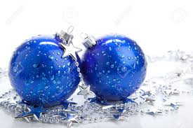 Blue And Silver Christmas Decorations Images by Blue Christmas Ball Baubles With Silver Decoration Isolated Stock