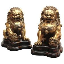 foo lions for sale large brass foo lions at 1stdibs