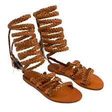 ancient greek sandals brown kariatida leather sandals for women