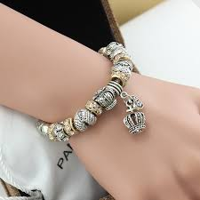crystal bracelet charms images Aoduola new design white crystal beads crown charm bracelet silver jpg