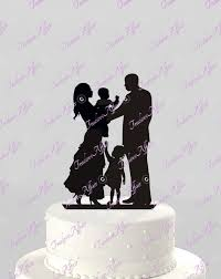 family cake toppers wedding cake topper silhouette ethnic family holding baby with